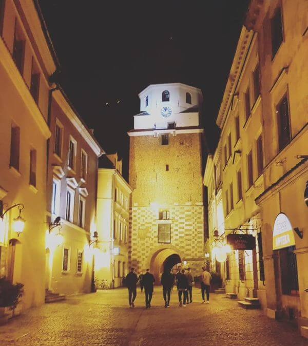 Lublin wieczorem - Brama Krakowska